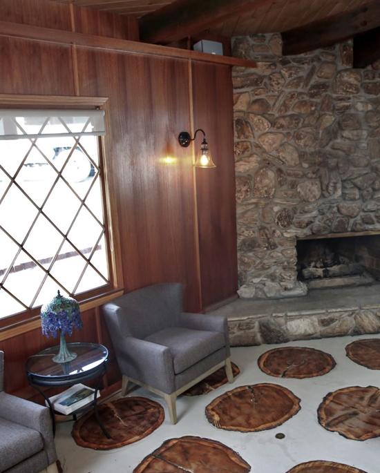 Cozy Lobby Fireplace Area