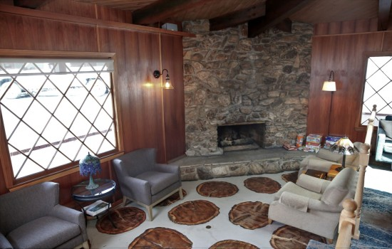 Grounds and Gardens - Cozy Lobby Fireplace Area
